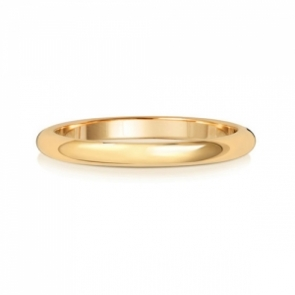 2mm Wedding Ring D-Shape 18k Gold, Medium