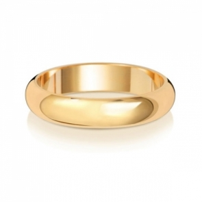 Wedding Ring D-Shape, 18k Gold 4mm