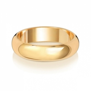5mm Wedding Ring D-Shape 9k Gold, Medium