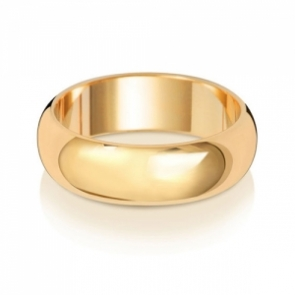 Wedding Ring D-Shape, 9k Gold 6mm