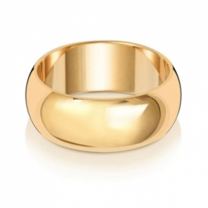 Wedding Ring D-Shape, 9k Gold 8mm