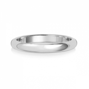 2.5mm Wedding Ring D-Shape 9k White Gold, Medium