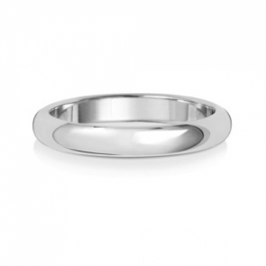 3mm Wedding Ring D-Shape 9k White Gold, Medium