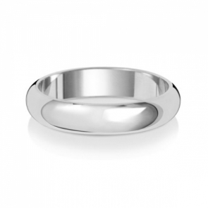 4mm Wedding Ring D-Shape 9k White Gold, Medium