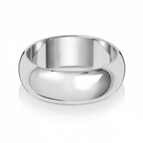 Wedding Ring D-Shape, 9k White Gold 7mm