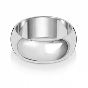 8mm Wedding Ring D-Shape 9k White Gold, Medium