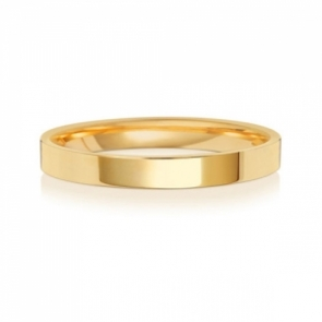 Wedding Ring Flat Court, 18k Gold 2.5mm