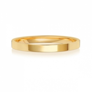 Wedding Ring Flat Court, 18k Gold 2mm