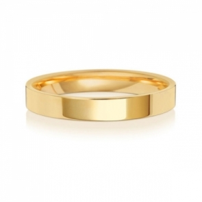 Wedding Ring Flat Court, 18k Gold 3mm