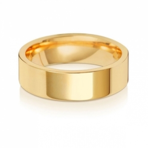 Wedding Ring Flat Court, 18k Gold 6mm