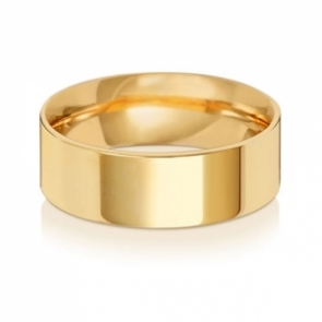 Wedding Ring Flat Court, 9k Gold 7mm