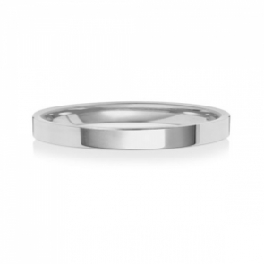 Wedding Ring Flat Court, 18k White Gold 2mm