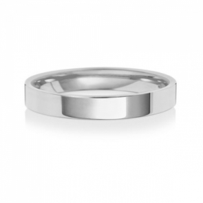 Wedding Ring Flat Court, 9k White Gold 3mm