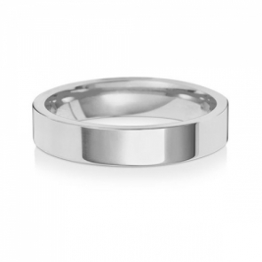 4mm Wedding Ring Flat Court, 9k White Gold, Medium