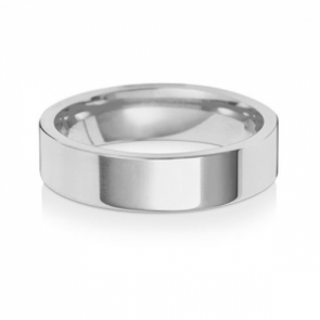Wedding Ring Flat Court, 18k White Gold 5mm