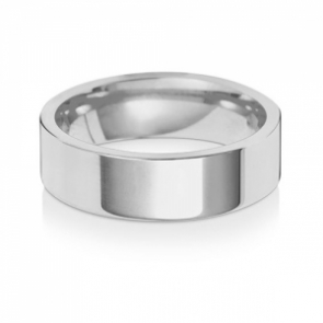 Wedding Ring Flat Court, 18k White Gold 6mm
