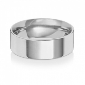 Wedding Ring Flat Court, 9k White Gold 7mm