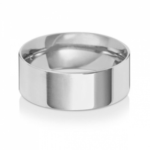 Wedding Ring Flat Court, 9k White Gold 8mm