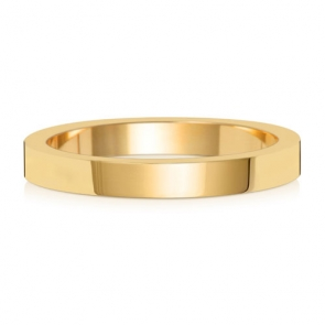 Wedding Ring Flat Profile, 18k Gold 2.5mm