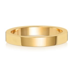 Wedding Ring Flat Profile, 18k Gold 3mm