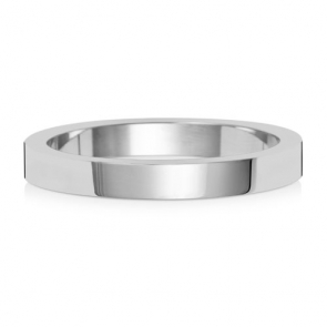 Wedding Ring Flat Profile, 18k White Gold 2.5mm