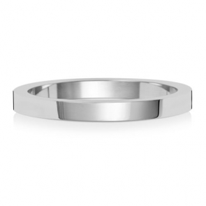 Wedding Ring Flat Profile, 18k White Gold 2mm