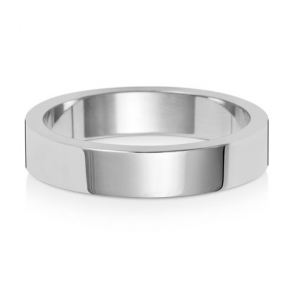 Wedding Ring Flat Profile, 18k White Gold 4mm