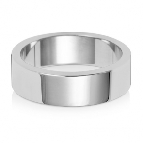 Wedding Ring Flat Profile, 18k White Gold 6mm