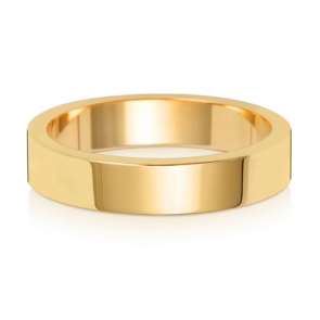 Wedding Ring Flat Profile, 9k Gold 4mm
