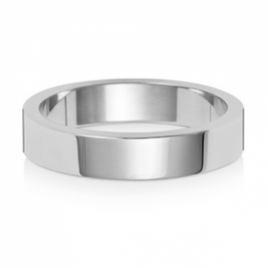 Wedding Ring Flat Profile, 9k White Gold 4mm