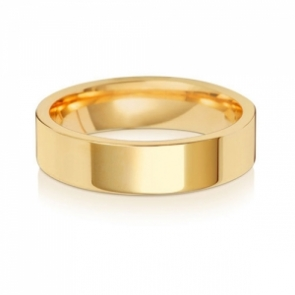 Wedding Ring Flat Court, 18k Gold 5mm