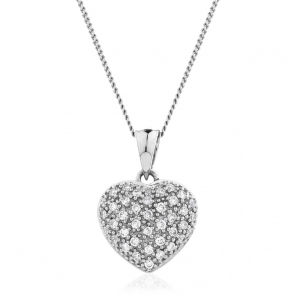 Diamond Pavé Heart Pendant 0.20ct, 9k White Gold