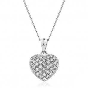 Diamond Pavé Heart Pendant 0.20ct, 9k White Gold