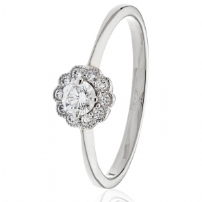 Diamond Engagement Ring With Milgrain 0.30ct, 18k White Gold