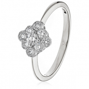Diamond Nine Stone Cluster Ring 0.40ct, 18k White Gold
