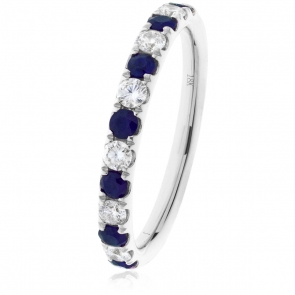 Sapphire & Diamond Half Eternity Ring 0.60ct, 18k White Gold