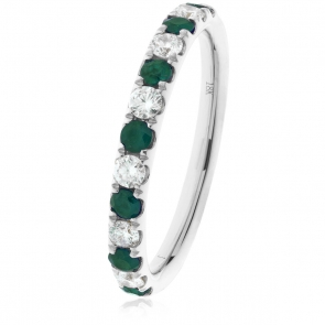 Emerald & Diamond Half Eternity Ring 0.60ct, 18k White Gold