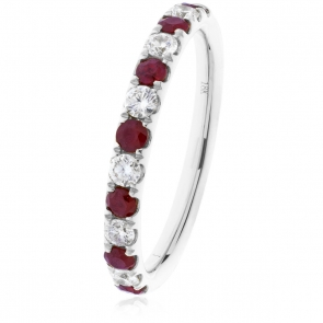 Ruby & Diamond Half Eternity Ring 0.60ct, 18k White Gold