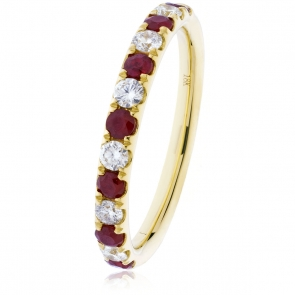 Ruby & Diamond Half Eternity Ring 0.60ct, 18k Gold