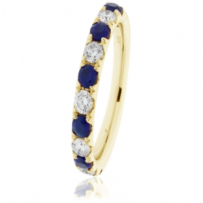 Sapphire & Diamond Half Eternity Ring 0.80ct, 18k Gold