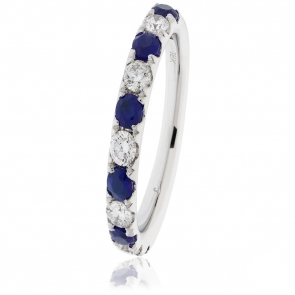 Sapphire & Diamond Half Eternity Ring 0.80ct, 18k White Gold