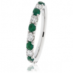 Emerald & Diamond Half Eternity Ring 0.80ct, 18k White Gold
