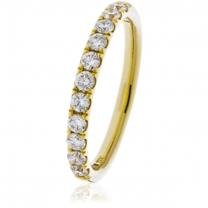 Diamond Half Eternity Ring 0.75ct. 18k Gold, 2.9mm