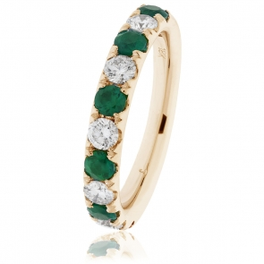 Emerald & Diamond Half Eternity Ring 1.10ct, 18k Gold