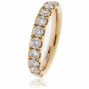 Diamond Half Eternity Ring 1.00ct, 18k Rose Gold