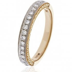 Diamond Half Eternity Ring with Millgrain 0.50ct, 18k Rose Gold