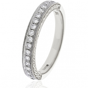 Diamond Half Eternity Ring with Millgrain 0.50ct, 18k White Gold