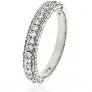 Diamond Half Eternity Ring with Millgrain 0.50ct, Platinum
