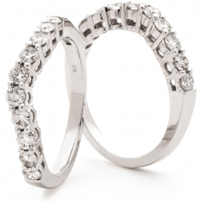 Shaped Diamond Set Ring 0.60ct in White Gold