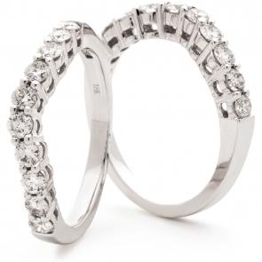 Shaped Diamond Set Ring 0.60ct in White Gold